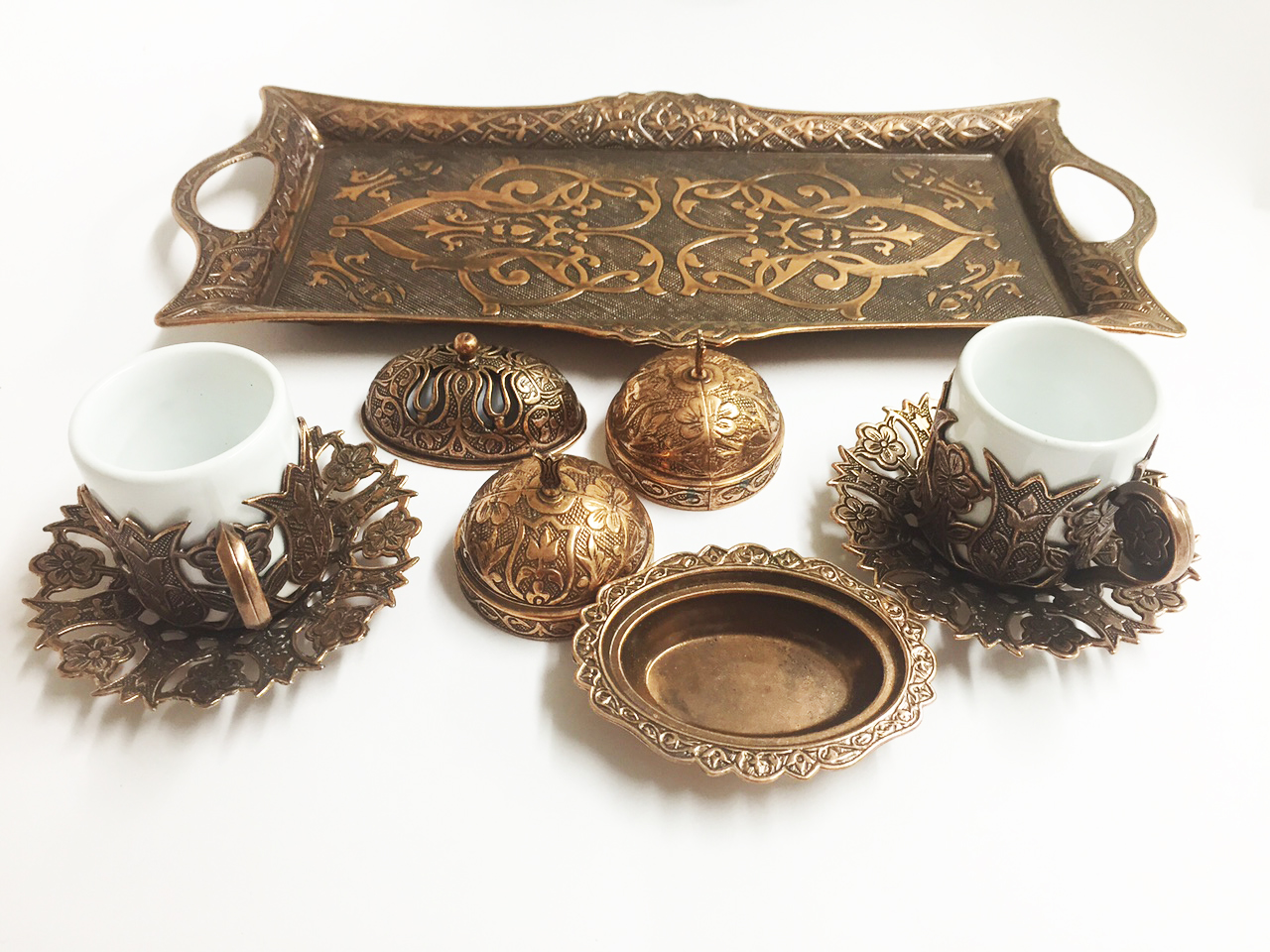 Ottoman Turkish Coffee Serving Gift Set Cups Saucers Tray