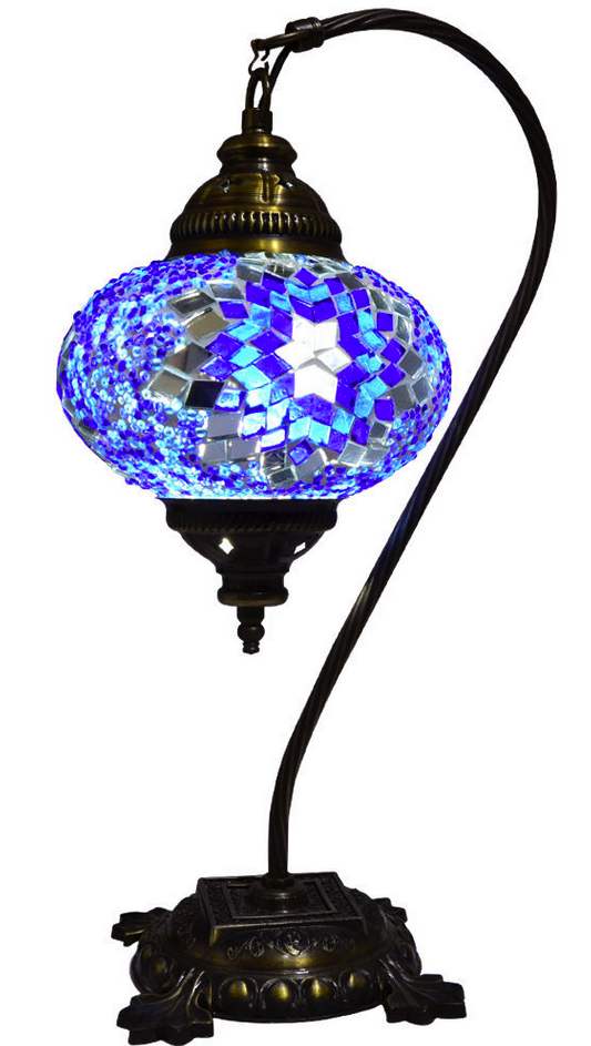 Turkish Moroccan Mosaic Table Bedside Tiffany Swan Lamp